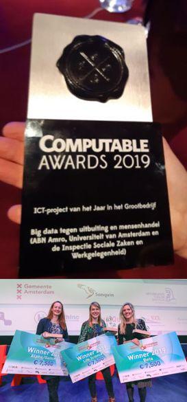 Big data human trafficking project wins Computable Award 2019 & Amsterdam Science and Innovation Award 2019