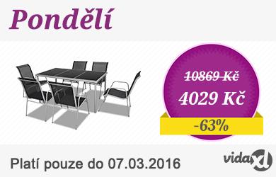 Zahradní jídelní set - 1 stůl + 6 textilene židlí