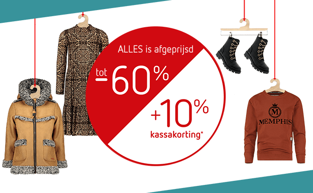 SALE! Tot -60% + 10% EXTRA!* ALLES is afgeprijsd!