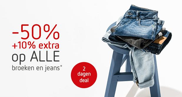 2 dagen deal: ALLE broeken en jeans -50% +10% EXTRA!*