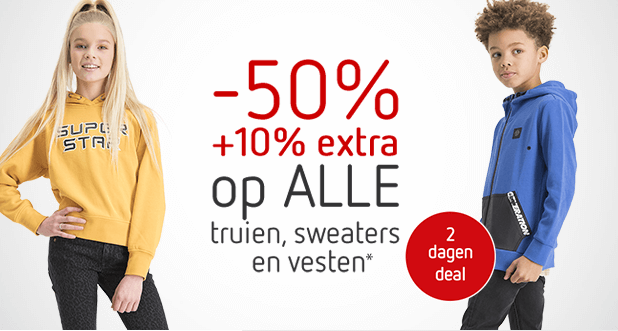 2 dagen deal: ALLE sweaters, truien en vesten -50% +10% EXTRA!*
