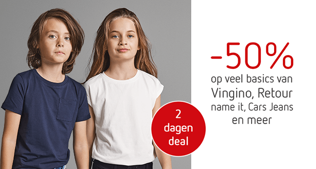 2 dagen deal: Veel basics van o.a. name it en Vingino!