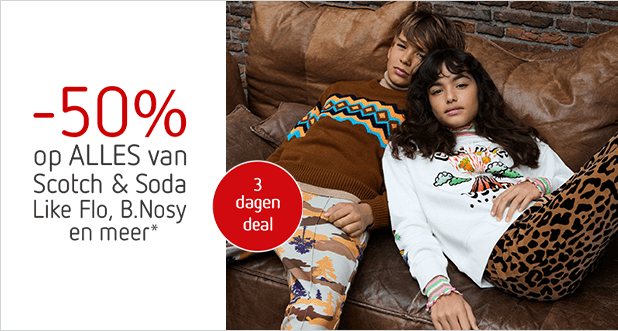 3 dagen deal: -50% op ALLES van o.a. Scotch & Soda!*