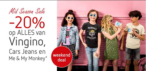 Weekenddeal: -20% op ALLES van o.a. Vingino en Cars!*