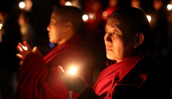 Solidariteit wake voor Tibet de Dam